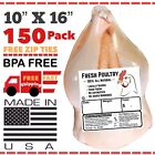 """POULTRY SHRINK BAGS 10""""X16"""" (150) CHICKEN SHRINK BAGS FREEZER SAFE USA MADE🇺🇸"""