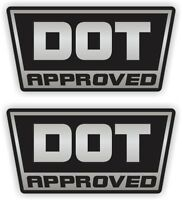 Silver DOT Approved Motorcycle Helmet Stickers | Vinyl Decals Labels D.O.T. Pair