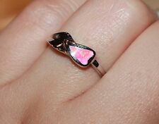 pink fire opal ring gems silver jewelry 6 6.5 7.5 delicate cocktail wedding