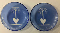 Vintage Lot Of 2 HC Andersens Danmark Blue Glass Candy Dish Hangmen Hearts Rare
