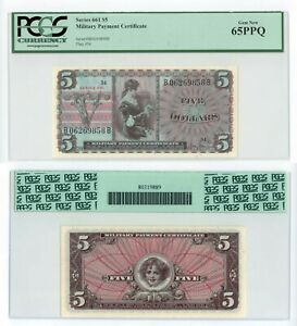 Series 661 MPC $5 U.S. Military Payment Certificate PCGS 65PPQ Gem New