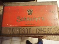 "Vintage 1930's Art Deco Red/Gold Schrafft's 2 lb ""Crimson Chest"" Tin Candy Box"