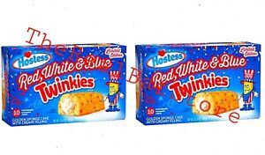 2 Limited Edition Hostess Red White Blue Twinkles 10-Cake per Box