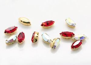 Genuine SWAROVSKI 4228 XILION Navette Crystals in Setting 4 Holes Sew On