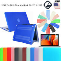 """For 2018 New MacBook Air 13.3"""" A1932 Rubberized Shell Case + Keyboard Cover +LCD"""