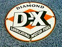 VINTAGE D-X GASOLINE PORCELAIN METAL GAS DIAMOND SERVICE STATION PUMP SIGN