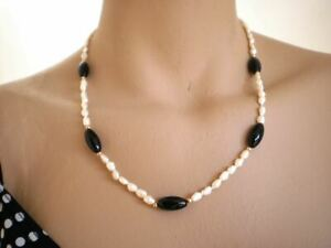 Vintage Baroque Freshwater Pearls Necklace w/ Black Onyx, 14K Gold Clasp