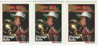 ( 3 ) Card Lot 1991 NBA Hoops NBA Champions #543 Michael Jordan Chicago Bulls