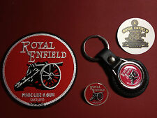 ROYAL ENFIELD, LEATHER KEY RING,  BADGE & PATCH SET + FREE  PHONE STICKER