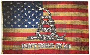 American Gadsden Don't Tread On Me Vintage 100D Woven Poly Nylon 3x5 3'x5' Flag