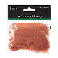 Natural Wool Roving, Beige, 10g Packet