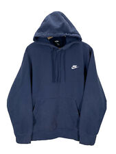 Men's Nike Embroidered Swoosh Navy Blue Hoodie Sweatshirt XL