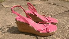 pied a terre pink cork wedge ankle strap sandals 6