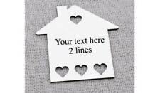 White Wooden House Shape Tags New Home Tags Frames Own text option 100mm x 100mm