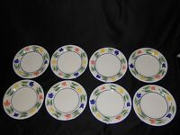 "8 Dansk Tulips 10 3/4"" Dinner Plates Floral with Blue Trim Indonesia"