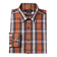 New APT 9 Men's Slim-Fit Orage Plaid Stretch Spread Collar Dress Shirt MSRP $45