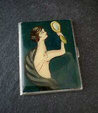 Vintage Art Deco Silver and enamel cigarette case, Mappin and Webb