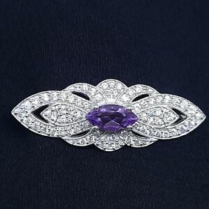 World Class 3.00ctw Amethyst & Diamond Cut White Sapphire 925 Silver Brooch 8g