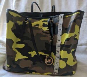 """""""Michael Kors"""" labelled Yellow/GreenCamouflage Pattern Tote Bag. Used"""