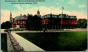 """1910s Dayton, Ohio Postcard """"HQ, Memorial Building and Church, SOLDIERS' HOME"""""""