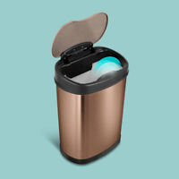 9 STARS DZT-12-13 MATT GOLD Touchless Automatic Motion Sensor Trash Can 4Gal 15L