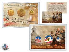 """1776-1976 BICENTENNIAL 24KT GOLD """"3"""" COIN SET! JFK/IKE HALF DOLLARS & QUARTER!"""