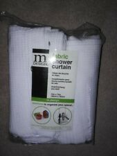 White woven fabric shower curtain