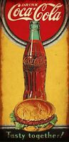 COCA COLA HAMBURGER COKE BOTTLE HEAVY DUTY USA MADE METAL SODA ADVERTISING SIGN