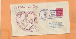 U.S.S.  PENNSYLVANIA VALENTINES DAY FEB 14,1934   NAVAL COVER