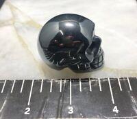 "2"" Hematite Skull, Hand Carved Crystal Healing Figurine, Polished very nice 162g"