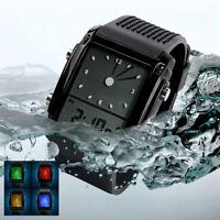 Waterproof Men Digital Analog Wrist Watch LED Light Rubber Alarm Teenagers Gift
