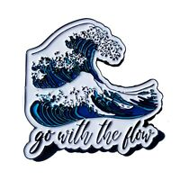 Stickeroonie Ocean Wave Enamel Pin Go with The Flow Enamel Lapel Pin 1.2 Inch...