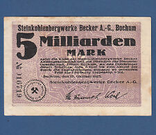 BOCHUM Steinkohlenbergwerk Becker 5 Milliarden Mark 1923 III / VF