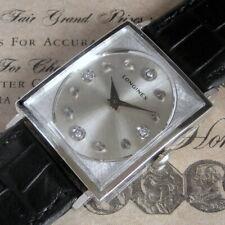Mens Original 1970 Longines DIAMOND Dial 10K WGF Vintage 17j Swiss Tank Watch A+
