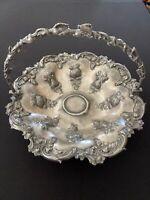 VINTAGE Silver Plate Handled Fruit Bowl/Bridal Basket Marked- 651