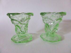 Pair of Green Depression Glass Bud Vases, 1930s Art Deco Glass, Rose Vases