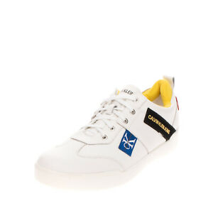 RRP €105 CALVIN KLEIN JEANS Leather Sneakers Size 45 UK 11 US 11.5 Logo Patches