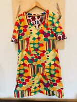 Bini Como Dress Short Green Red Yellow Stripes Floral Patterned Vintage Retro 44