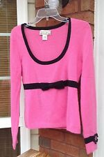 100% Cashmere Sweater Large Pink Bow Scoop Neck Womens Nanette Lepore Knit A122