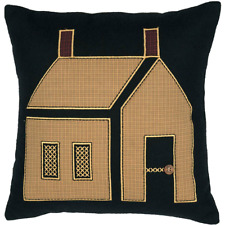 Country Cushion Pillow Filled Black Felt With an Applique House 46cm SQ 18x18""
