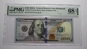 $100 2009 Fancy Near Solid Serial Number Federal Reserve Currency Bank Note Bill