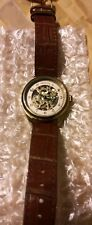 Ladies Invicta Vintage Mech Skeletonized Stainless Leather Watch Goldtone 17199�