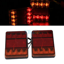 2x 12V Car Trailer Truck 8 LED Stop Brake Rear Tail Indicator Light Lamp