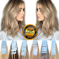 Invisible 100% Russian REMY Tape In Human Hair Extensions Blonde Silk Long US