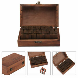 70pcs Mini Wooden Letter Alphabet Stamp Set Retro Vintage Case Rubber Craft DIY