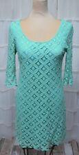 Anthropologie Emmelee Womens Sz Sm Sea Green 3/4-Sleeve Lace Dress Scalloped Hem