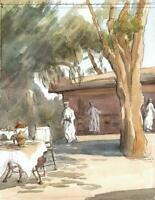 TERRACE RESTAURANT NORTH AFRICA Watercolour Painting c1980