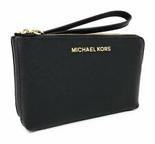 NWT MICHAEL KORS Jet Set Large Double Zip Leather Wristlet ( Black)