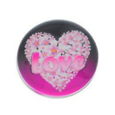 """Noosa Chunks Ginger Style Snap Button Charms """"Pink Floral Love Heart"""" 18 mm New"""