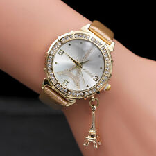 Women Quartz Wrist The Eiffel Tower Rhinestone  pendant Wrist Watch Gold  US